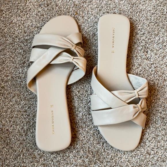 Zara bone leather slides